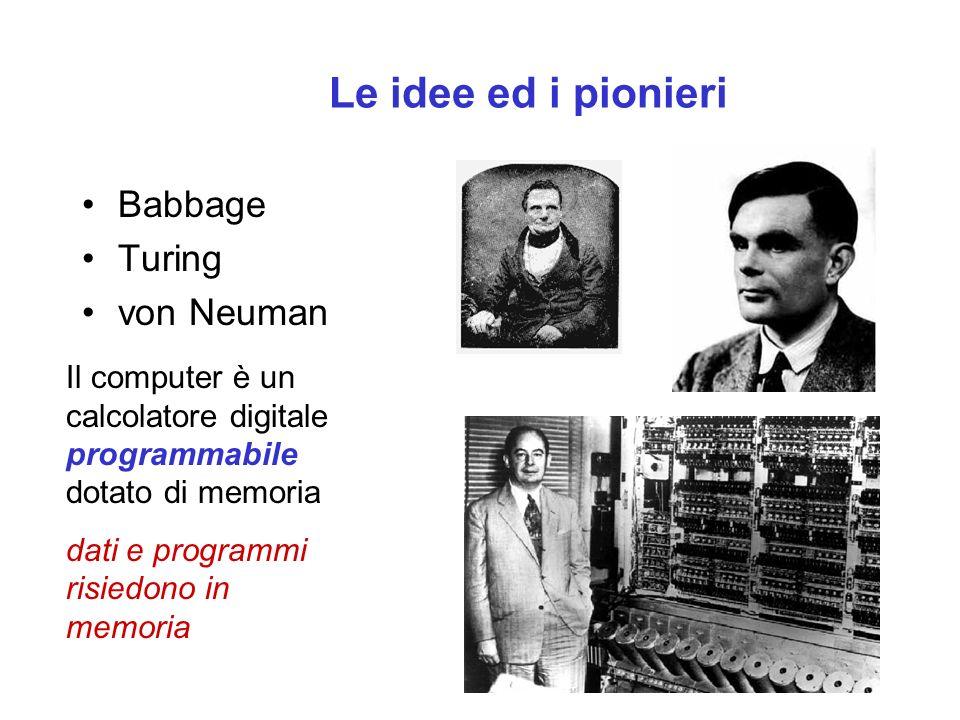 Le idee ed i pionieri Babbage Turing von Neuman Il computer è un calcolatore digitale programmabile dotato di memoria dati e programmi risiedono in memoria