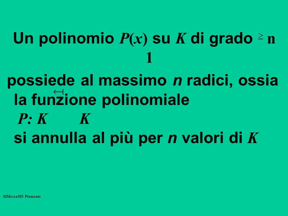 Un polinomio P(x) su K di grado n 1 possiede al massimo n radici, ossia la funzione polinomiale P: K K si annulla al più per n valori di K MMoscaSIS P