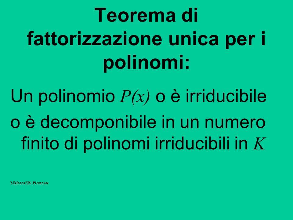 Teorema di fattorizzazione unica per i polinomi: Un polinomio P(x) o è irriducibile o è decomponibile in un numero finito di polinomi irriducibili in