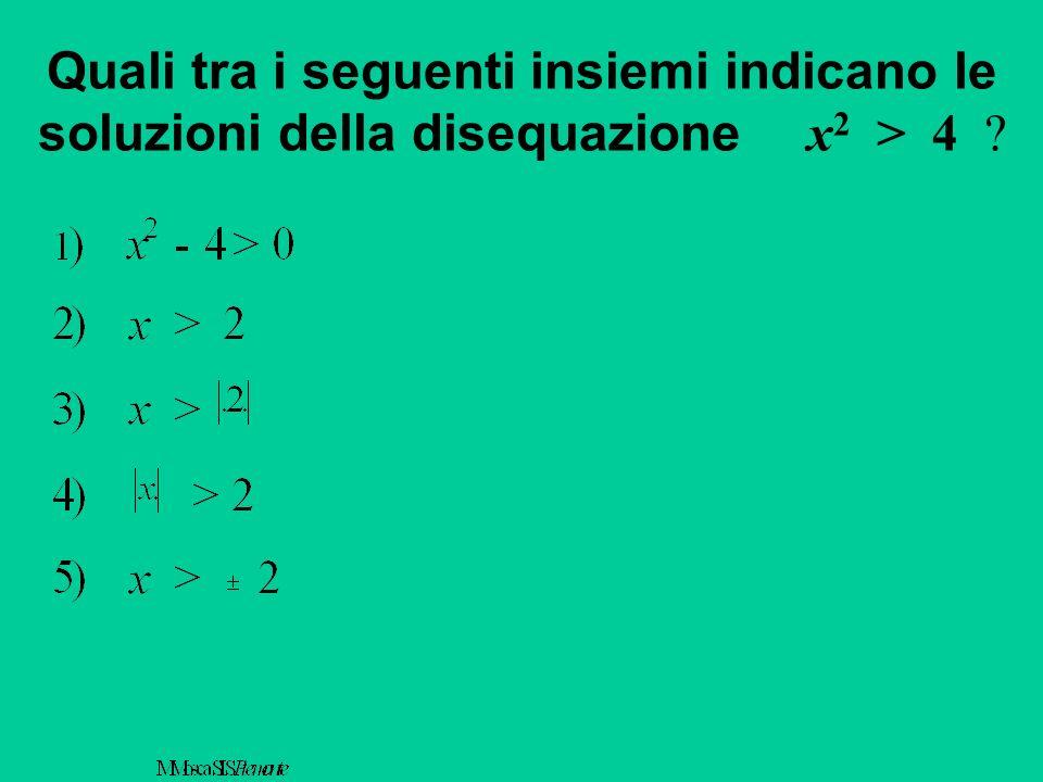 Quali tra i seguenti insiemi indicano le soluzioni della disequazione x 2 > 4 ?