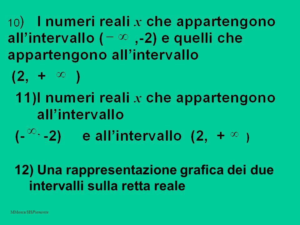 12) Una rappresentazione grafica dei due intervalli sulla retta reale MMosca SISPiemonte
