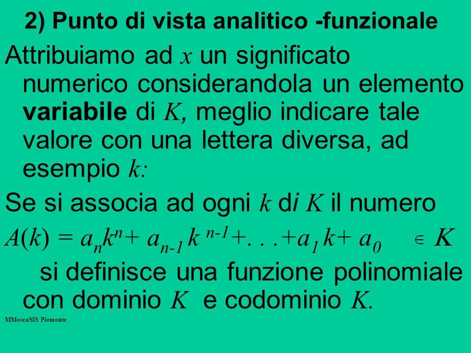 2) Punto di vista analitico -funzionale Attribuiamo ad x un significato numerico considerandola un elemento variabile di K, meglio indicare tale valore con una lettera diversa, ad esempio k: Se si associa ad ogni k di K il numero A(k) = a n k n + a n-1 k n-1 +...+a 1 k+ a 0 si definisce una funzione polinomiale con dominio K e codominio K.