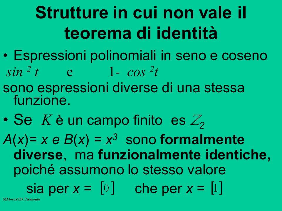 Strutture in cui non vale il teorema di identità Espressioni polinomiali in seno e coseno sin 2 t e 1- cos 2 t sono espressioni diverse di una stessa