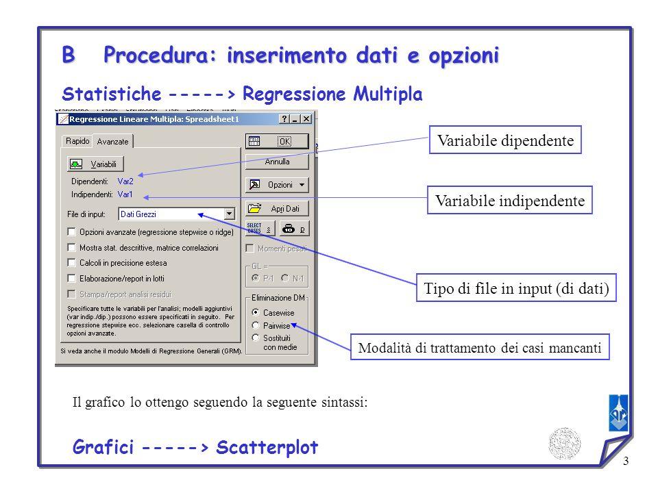 3 Statistiche -----> Regressione Multipla Tipo di file in input (di dati) Modalità di trattamento dei casi mancanti B Procedura: inserimento dati e op