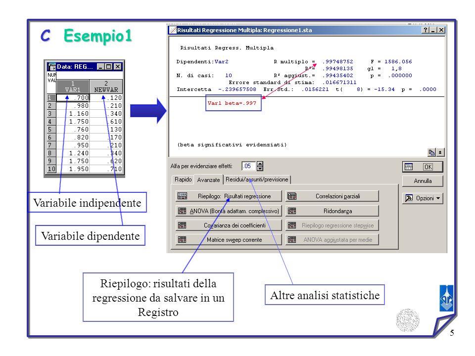 5 Variabile indipendente Variabile dipendente Riepilogo: risultati della regressione da salvare in un Registro Altre analisi statistiche C Esempio1