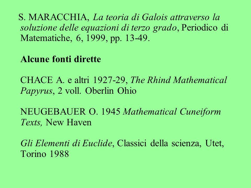 S. MARACCHIA, La teoria di Galois attraverso la soluzione delle equazioni di terzo grado, Periodico di Matematiche, 6, 1999, pp. 13-49. Alcune fonti d