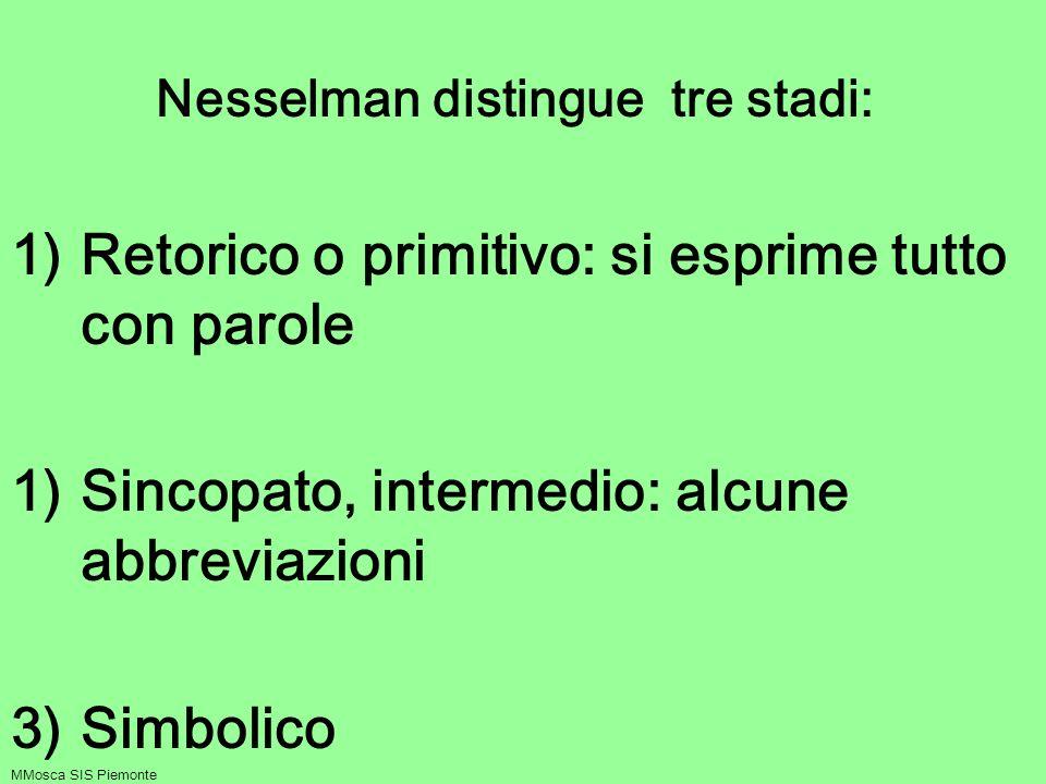 Nesselman distingue tre stadi: 1)Retorico o primitivo: si esprime tutto con parole 1)Sincopato, intermedio: alcune abbreviazioni 3)Simbolico MMosca SI