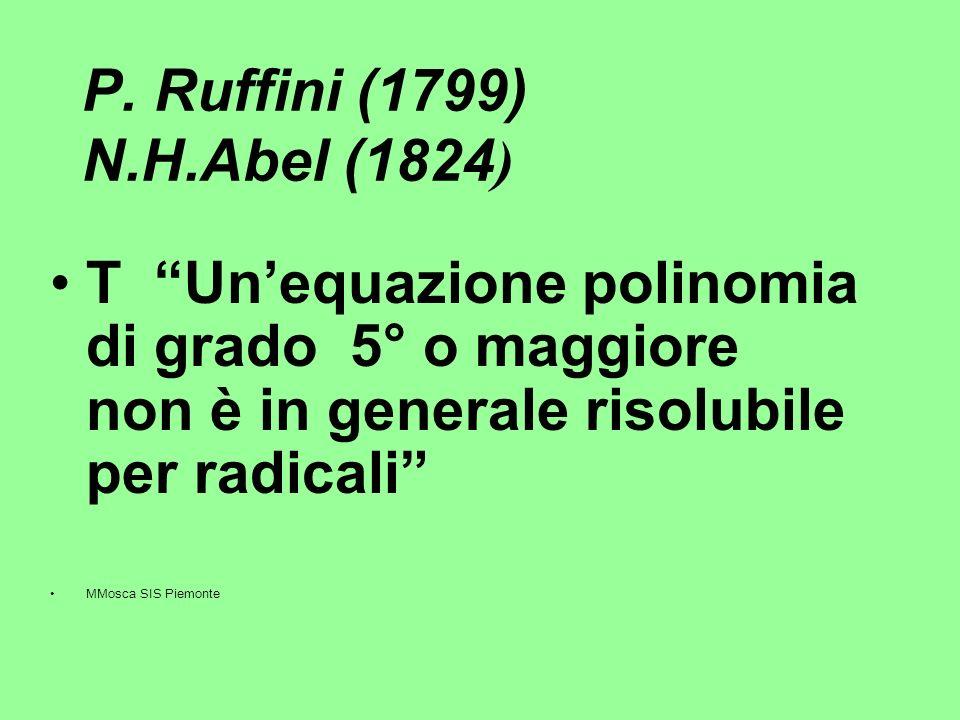 P. Ruffini (1799) N.H.Abel (1824 ) T Unequazione polinomia di grado 5° o maggiore non è in generale risolubile per radicali MMosca SIS Piemonte