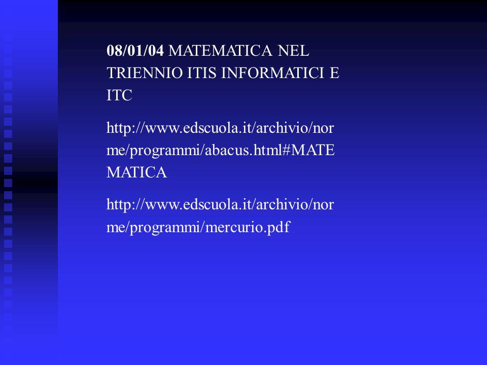 08/01/04 MATEMATICA NEL TRIENNIO ITIS INFORMATICI E ITC http://www.edscuola.it/archivio/nor me/programmi/abacus.html#MATE MATICA http://www.edscuola.i