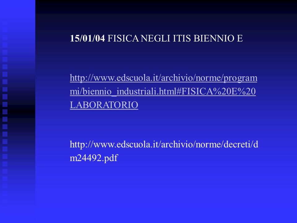 15/01/04 FISICA NEGLI ITIS BIENNIO E http://www.edscuola.it/archivio/norme/program mi/biennio_industriali.html#FISICA%20E%20 LABORATORIO http://www.ed