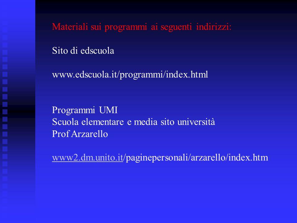 Materiali sui programmi ai seguenti indirizzi: Sito di edscuola www.edscuola.it/programmi/index.html Programmi UMI Scuola elementare e media sito univ