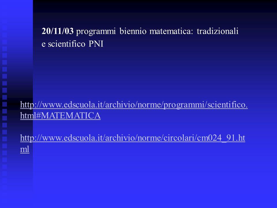 20/11/03 programmi biennio matematica: tradizionali e scientifico PNI http://www.edscuola.it/archivio/norme/programmi/scientifico. html#MATEMATICA htt