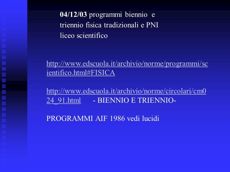 04/12/03 programmi biennio e triennio fisica tradizionali e PNI liceo scientifico http://www.edscuola.it/archivio/norme/programmi/sc ientifico.html#FI