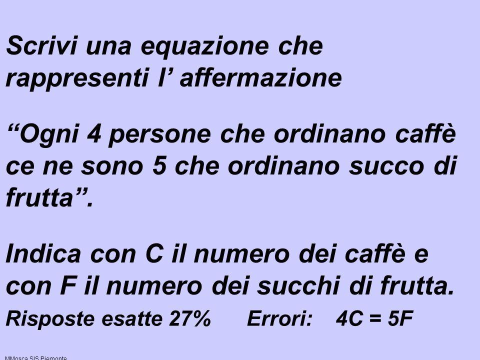 Es. 2 Scrivi una equazione che rappresenti l affermazione Ogni 4 persone che ordinano caffè ce ne sono 5 che ordinano succo di frutta. Indica con C il