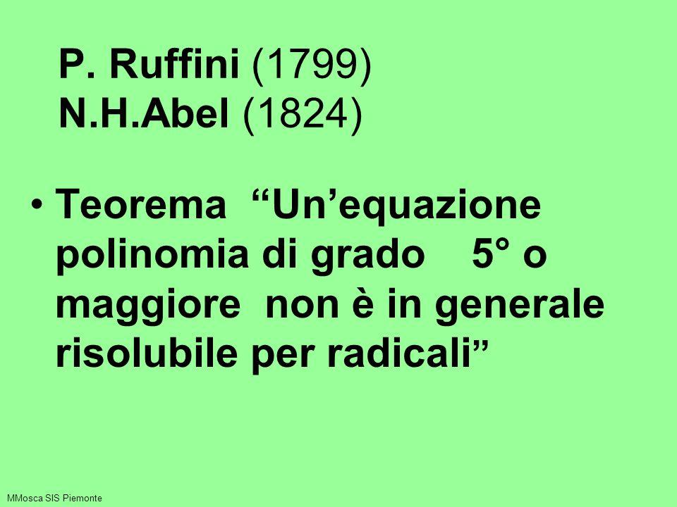 P. Ruffini (1799) N.H.Abel (1824) Teorema Unequazione polinomia di grado 5° o maggiore non è in generale risolubile per radicali MMosca SIS Piemonte
