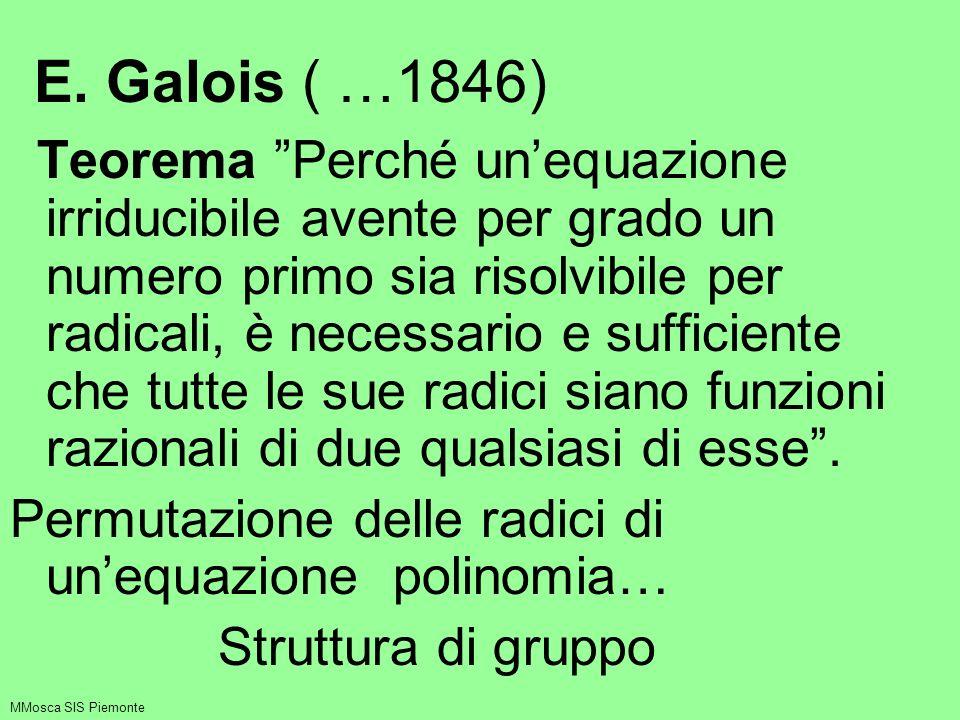 E. Galois ( …1846) Teorema Perché unequazione irriducibile avente per grado un numero primo sia risolvibile per radicali, è necessario e sufficiente c