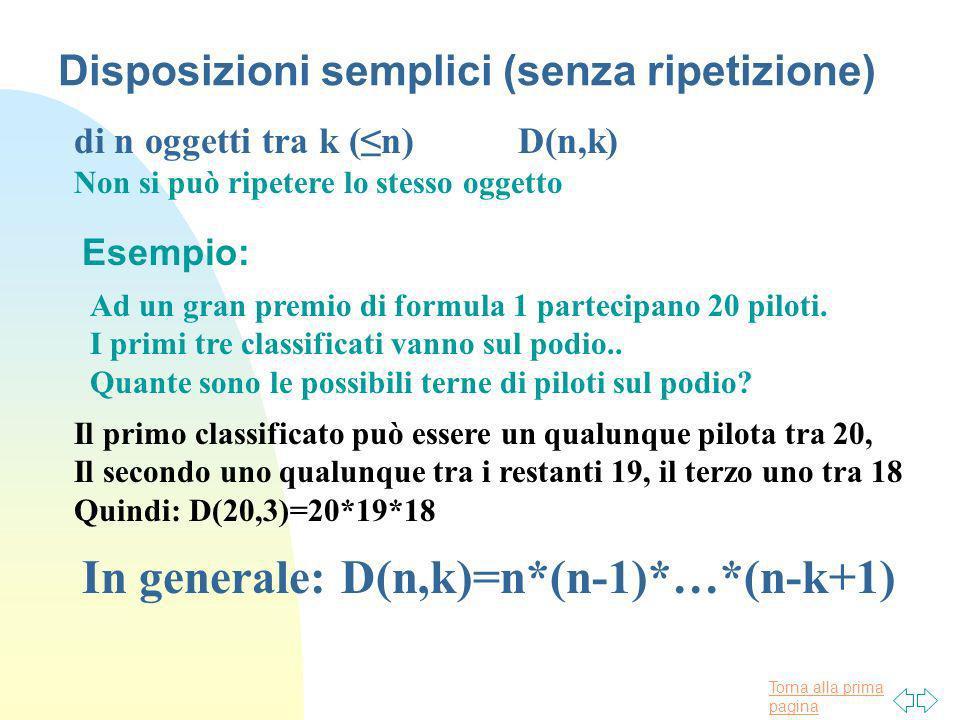 Torna alla prima pagina Disposizioni semplici (senza ripetizione) di n oggetti tra k (n) D(n,k) Non si può ripetere lo stesso oggetto Esempio: Ad un g