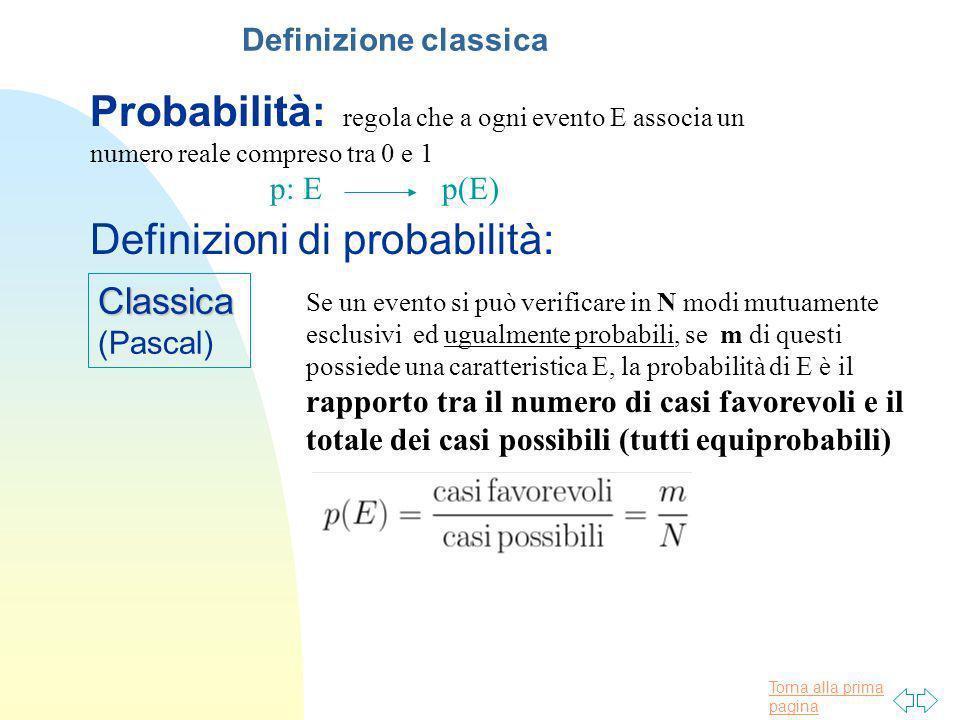 Torna alla prima pagina Probabilità: regola che a ogni evento E associa un numero reale compreso tra 0 e 1 p: E p(E) Classica (Pascal) Definizioni di
