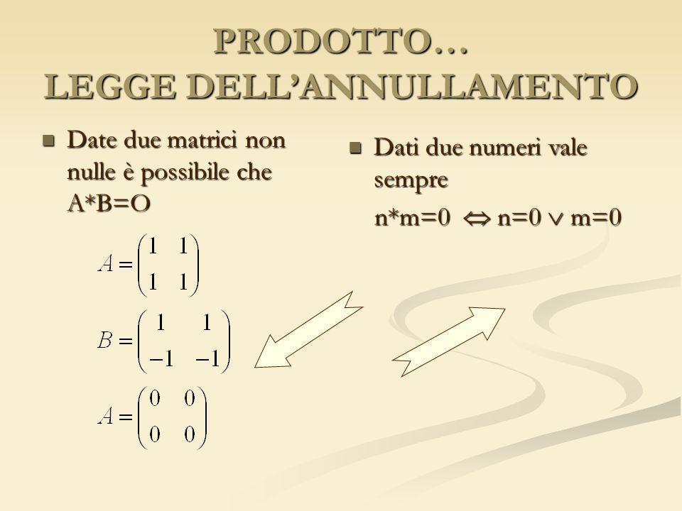 PRODOTTO… LEGGE DELLANNULLAMENTO Date due matrici non nulle è possibile che A*B=O Date due matrici non nulle è possibile che A*B=O Dati due numeri val