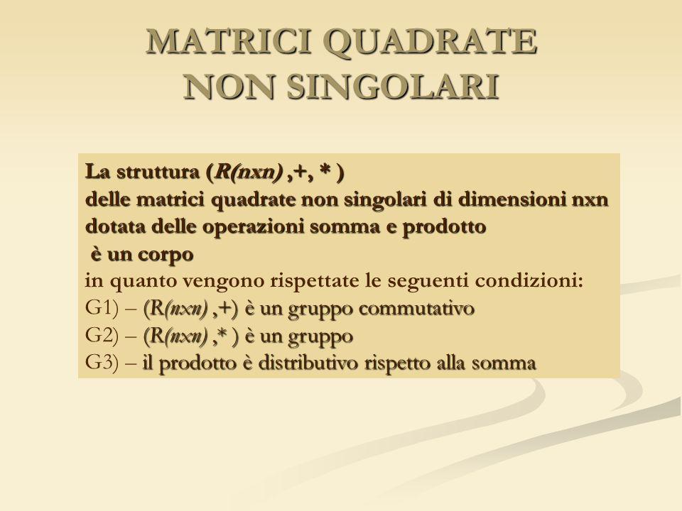 MATRICI QUADRATE NON SINGOLARI La struttura (R(nxn),+, * ) delle matrici quadrate non singolari di dimensioni nxn dotata delle operazioni somma e prod