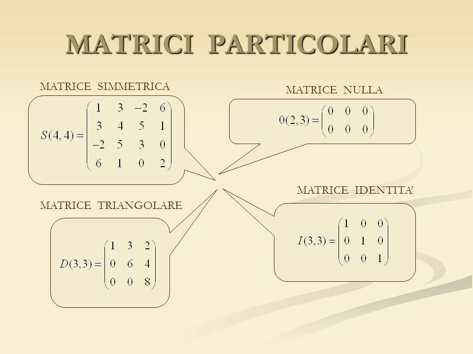 MATRICI PARTICOLARI MATRICE SIMMETRICA MATRICE NULLA MATRICE IDENTITA MATRICE TRIANGOLARE