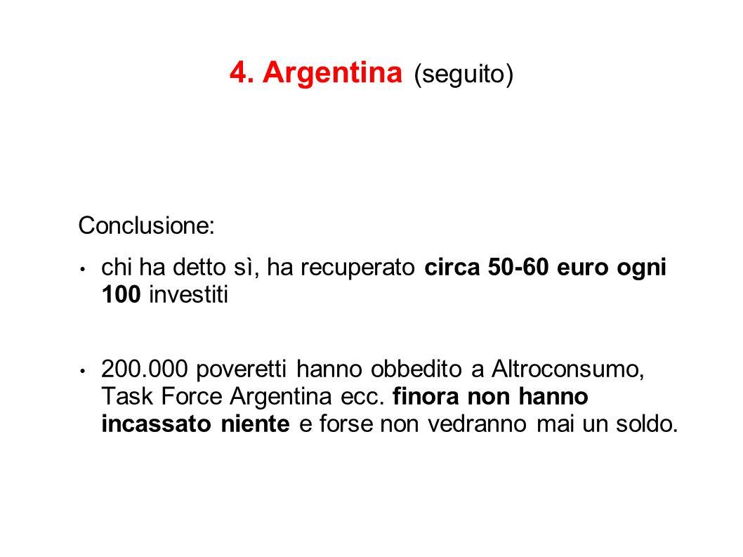 4. Argentina (seguito) Conclusione: chi ha detto sì, ha recuperato circa 50-60 euro ogni 100 investiti 200.000 poveretti hanno obbedito a Altroconsumo