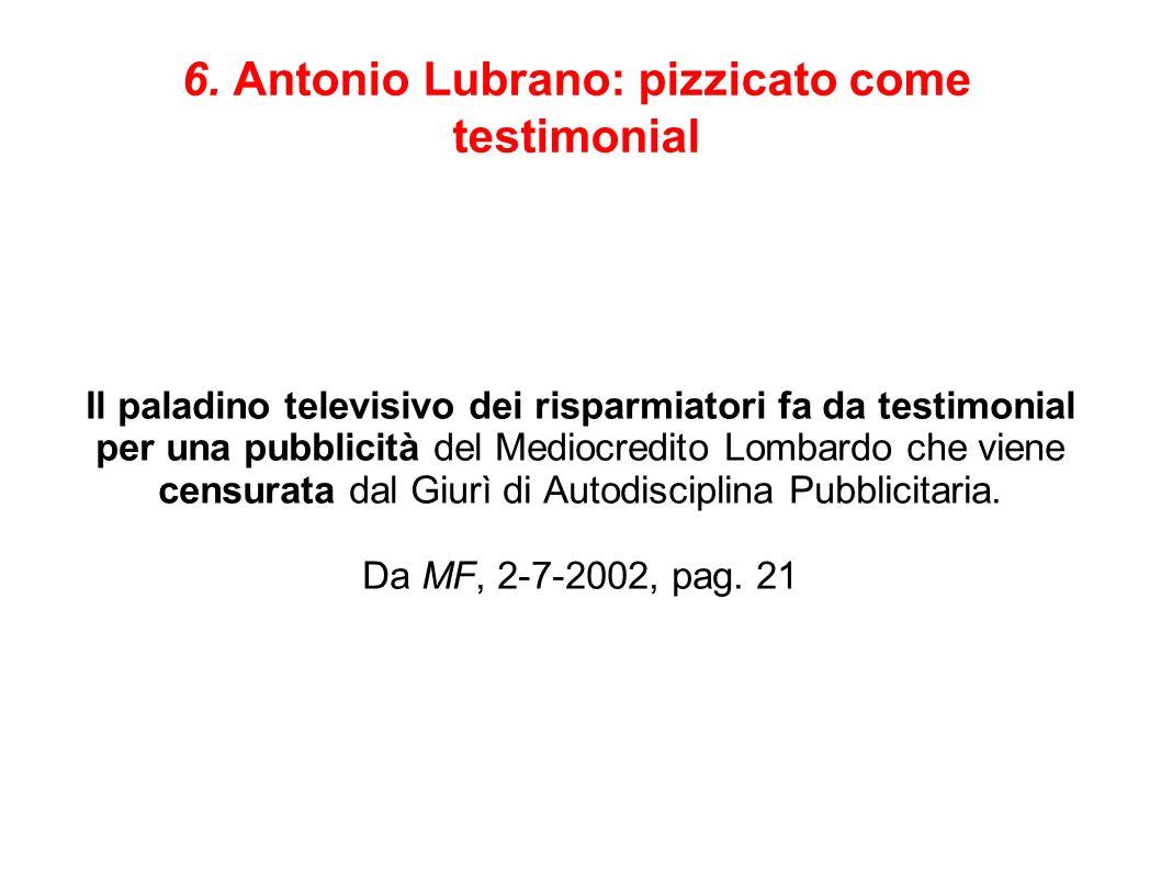 6. Antonio Lubrano: pizzicato come testimonial Il paladino televisivo dei risparmiatori fa da testimonial per una pubblicità del Mediocredito Lombardo