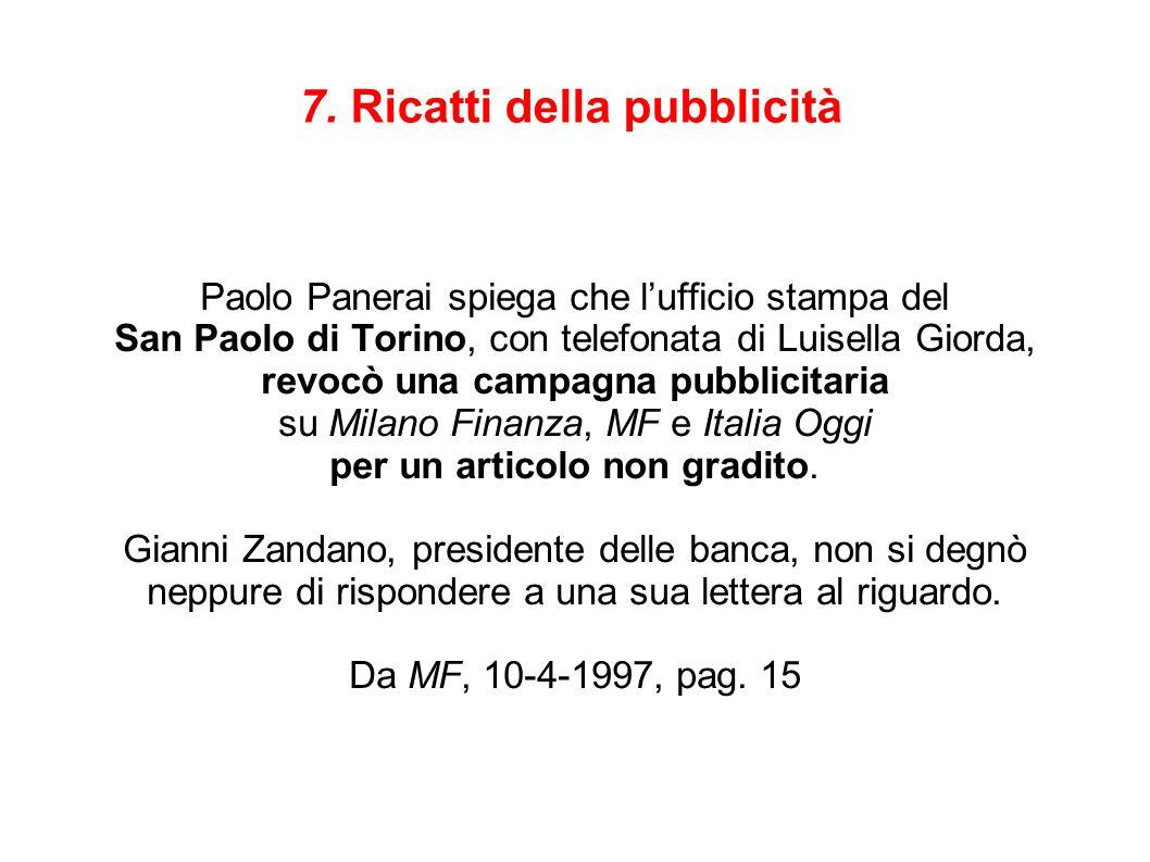 7. Ricatti della pubblicità Paolo Panerai spiega che lufficio stampa del San Paolo di Torino, con telefonata di Luisella Giorda, revocò una campagna p