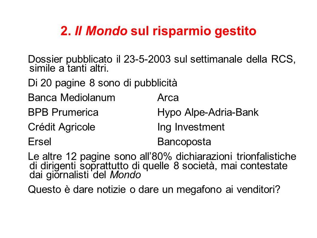 2. Il Mondo sul risparmio gestito Dossier pubblicato il 23-5-2003 sul settimanale della RCS, simile a tanti altri. Di 20 pagine 8 sono di pubblicità B