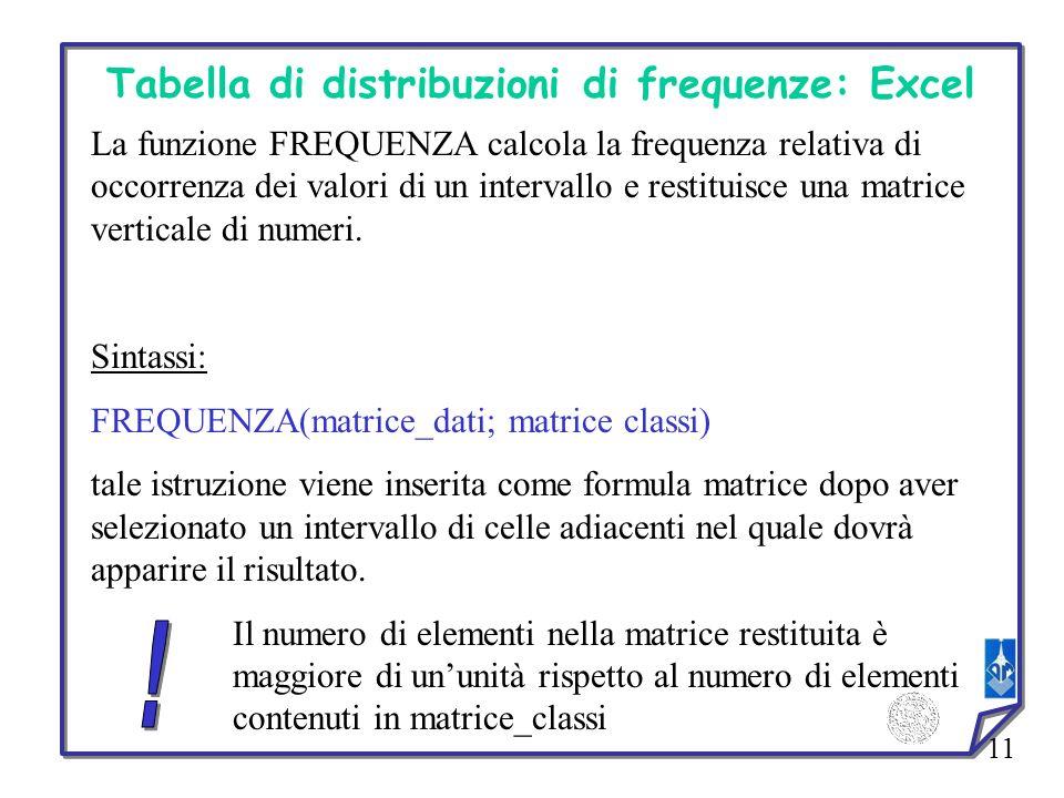 11 Tabella di distribuzioni di frequenze: Excel La funzione FREQUENZA calcola la frequenza relativa di occorrenza dei valori di un intervallo e restit