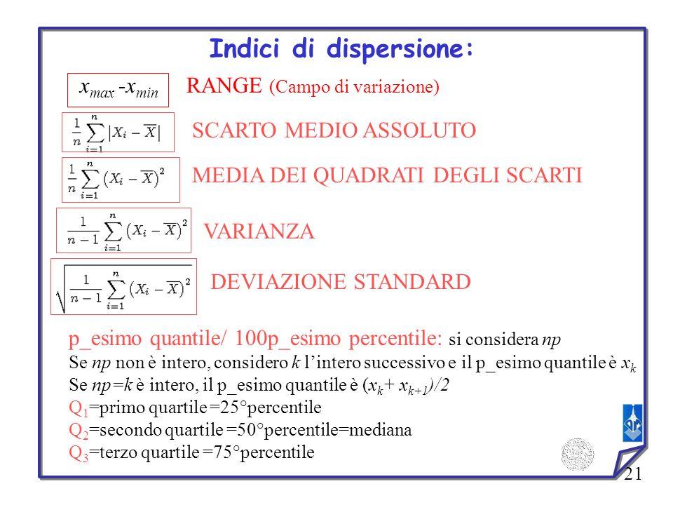 21 Indici di dispersione: MEDIA DEI QUADRATI DEGLI SCARTI x max -x min RANGE (Campo di variazione) SCARTO MEDIO ASSOLUTO VARIANZA DEVIAZIONE STANDARD
