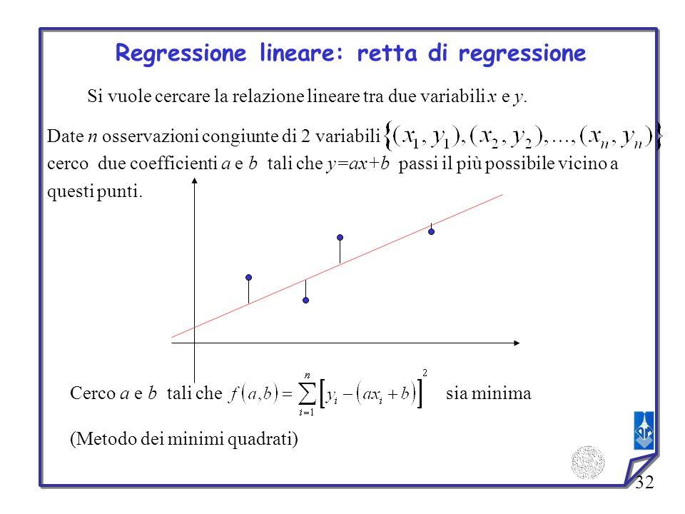 32 Regressione lineare: retta di regressione Si vuole cercare la relazione lineare tra due variabili x e y. Date n osservazioni congiunte di 2 variabi