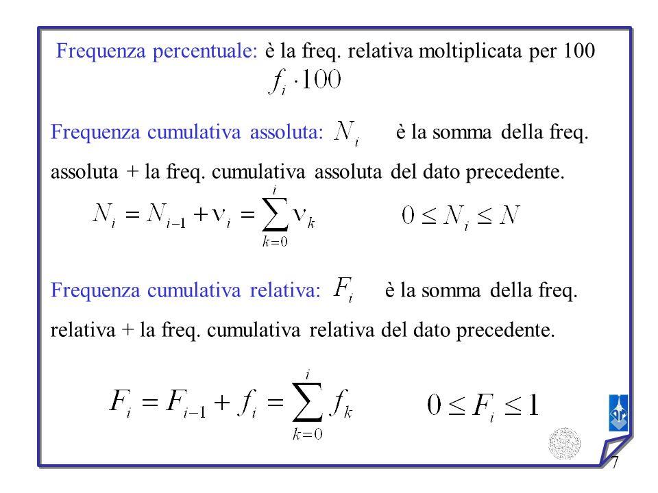 8 Tabella di distribuzioni di frequenze: Caso discreto: Esempio 1 Le classi sono: N.B.