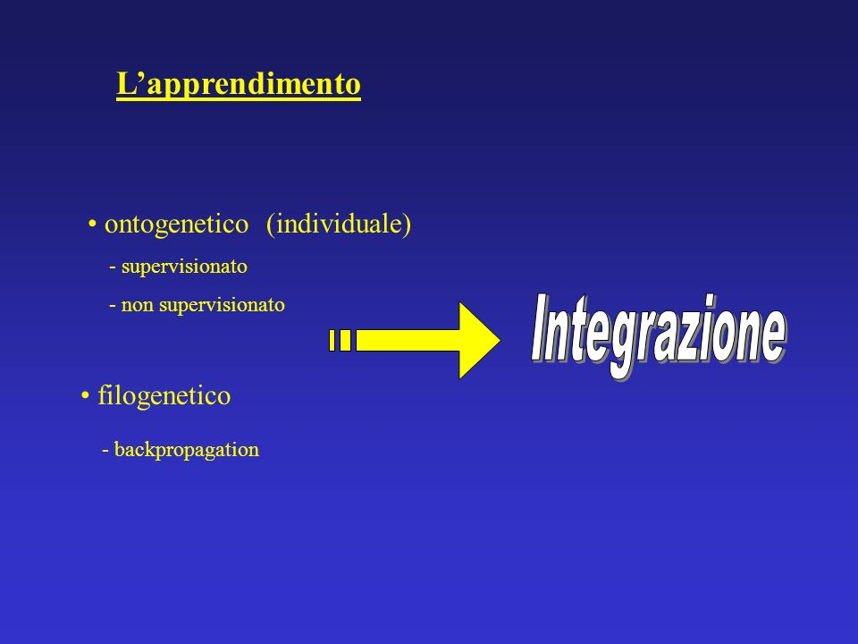 Lapprendimento ontogenetico (individuale) - supervisionato - non supervisionato filogenetico - backpropagation