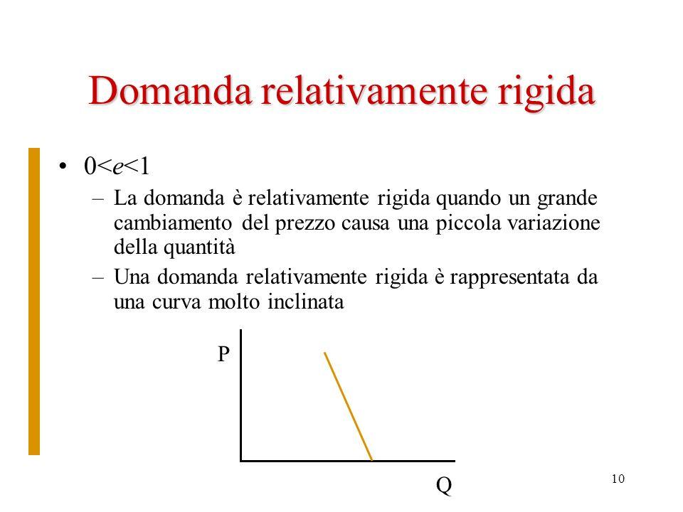 10 Domanda relativamente rigida 0<e<1 –La domanda è relativamente rigida quando un grande cambiamento del prezzo causa una piccola variazione della qu