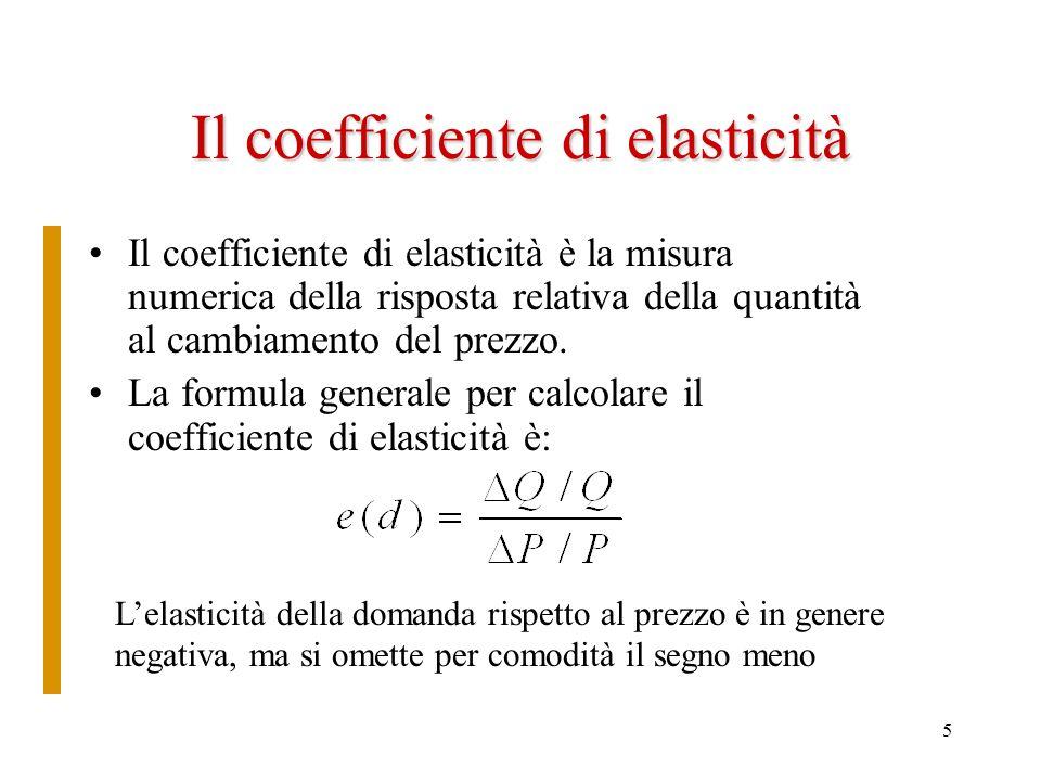 5 Il coefficiente di elasticità Il coefficiente di elasticità è la misura numerica della risposta relativa della quantità al cambiamento del prezzo. L