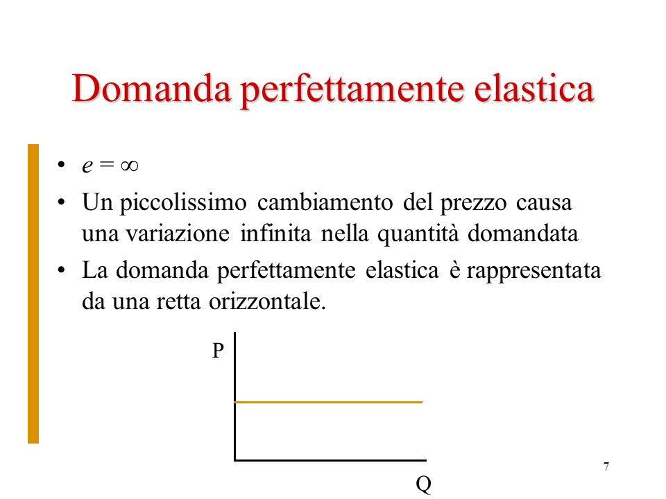 8 Domanda relativamente elastica 1<e< –La domanda relativamente elastica si ha quando un cambiamento relativamente piccolo del prezzo causa un cambiamento relativamente grande della quantità –Le curve di domanda relativamente elastiche sono curve con una bassa pendenza P Q