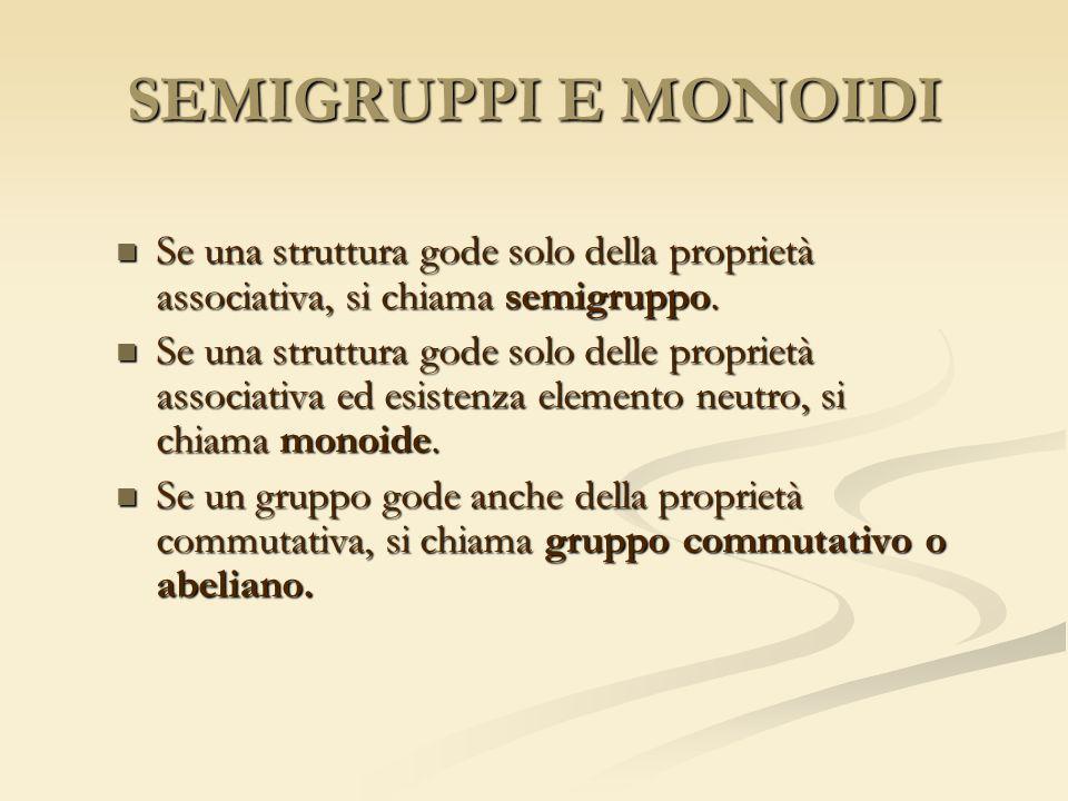 SEMIGRUPPI E MONOIDI Se una struttura gode solo della proprietà associativa, si chiama semigruppo. Se una struttura gode solo della proprietà associat