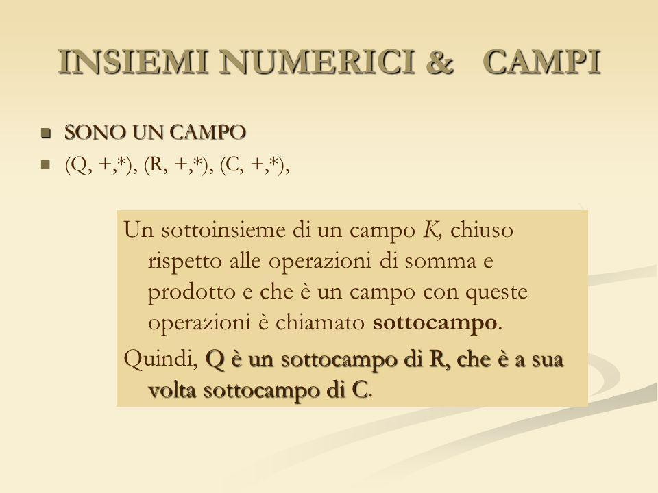INSIEMI NUMERICI & CAMPI SONO UN CAMPO SONO UN CAMPO (Q, +,*), (R, +,*), (C, +,*), Un sottoinsieme di un campo K, chiuso rispetto alle operazioni di s
