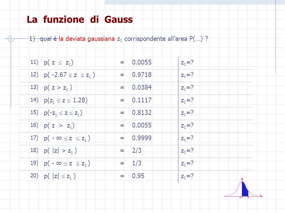 La funzione di Gauss 1)qual è la deviata gaussiana z 1 corrispondente allarea P(…) ? 11) p( z z 1 ) =0.0055z 1 =? 12) p( -2.67 z z 1 ) =0.9718z 1 =? 1