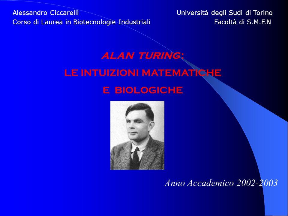 Alessandro Ciccarelli Università degli Sudi di Torino Corso di Laurea in Biotecnologie Industriali Facoltà di S.M.F.N ALAN TURING : LE INTUIZIONI MATE