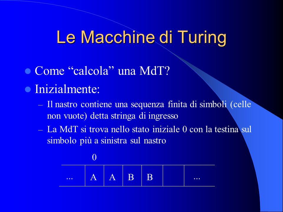 Le Macchine di Turing Come calcola una MdT? Inizialmente: – Il nastro contiene una sequenza finita di simboli (celle non vuote) detta stringa di ingre
