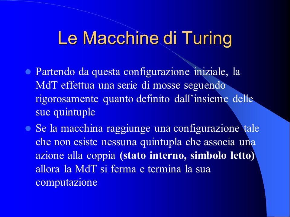 Le Macchine di Turing Partendo da questa configurazione iniziale, la MdT effettua una serie di mosse seguendo rigorosamente quanto definito dallinsiem