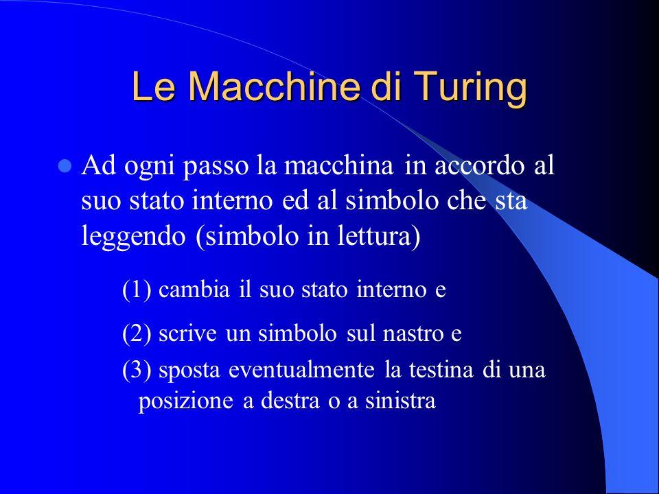 Le Macchine di Turing Il comportamento di una MdT può essere programmato definendo un insieme di quintuple della forma: (stato, simbolo letto, nuovo stato, simbolo scritto, direzione) Esempi di quintuple: (0, A, 1, B, -)(1, B, 0, B, >) (S, C, END, -, -)(1, -, 1, A, <)