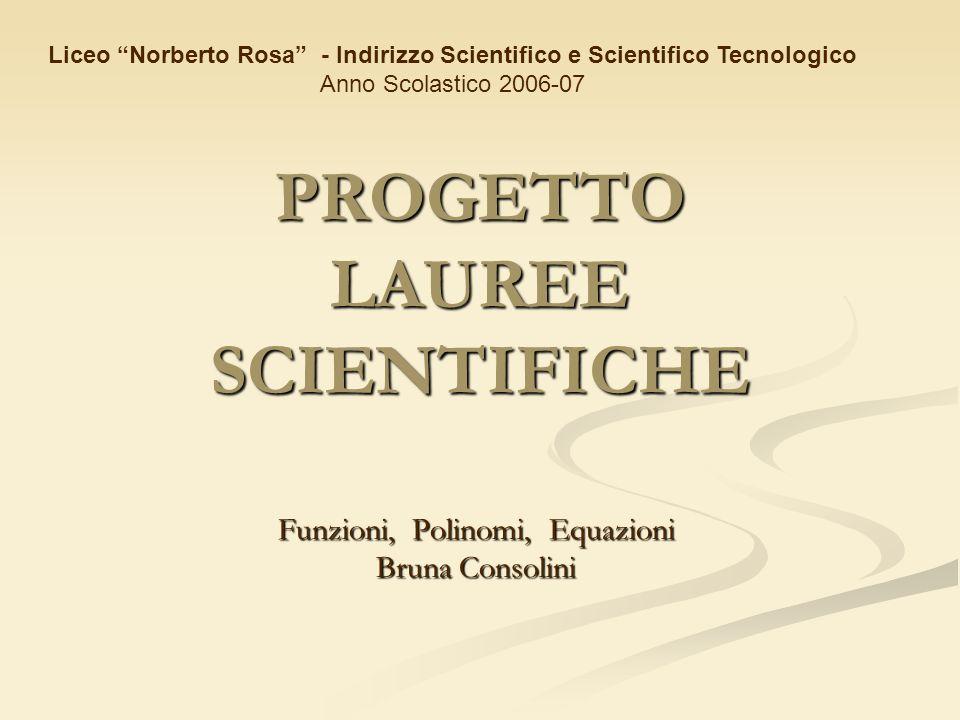 PROGETTO LAUREE SCIENTIFICHE Funzioni, Polinomi, Equazioni Bruna Consolini Liceo Norberto Rosa - Indirizzo Scientifico e Scientifico Tecnologico Anno Scolastico 2006-07