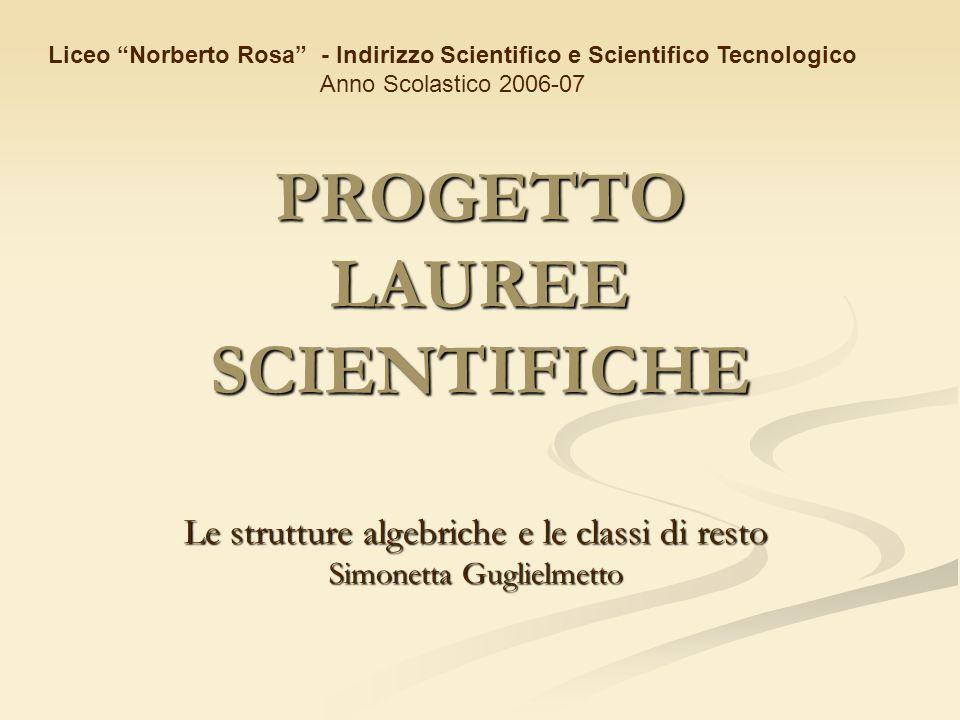 PROGETTO LAUREE SCIENTIFICHE Le strutture algebriche e le classi di resto Simonetta Guglielmetto Liceo Norberto Rosa - Indirizzo Scientifico e Scienti