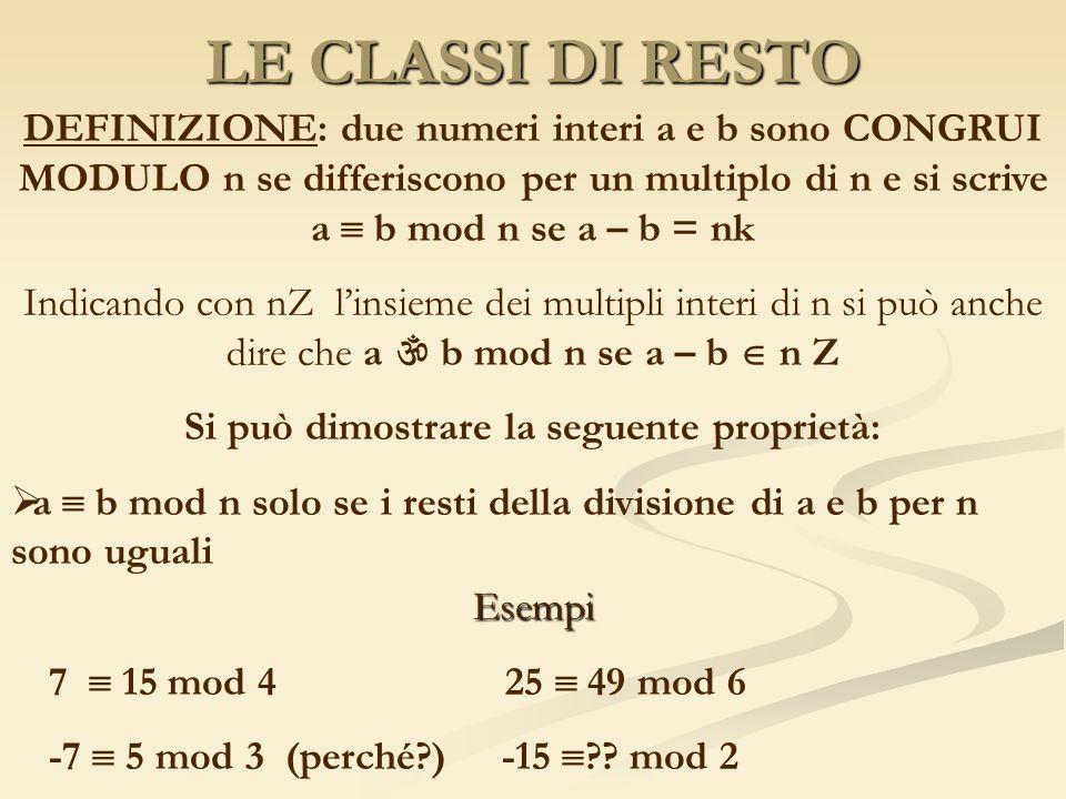 LE CLASSI DI RESTO DEFINIZIONE: due numeri interi a e b sono CONGRUI MODULO n se differiscono per un multiplo di n e si scrive a b mod n se a – b = nk