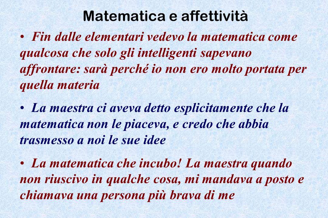 Matematica e affettività Fin dalle elementari vedevo la matematica come qualcosa che solo gli intelligenti sapevano affrontare: sarà perché io non ero