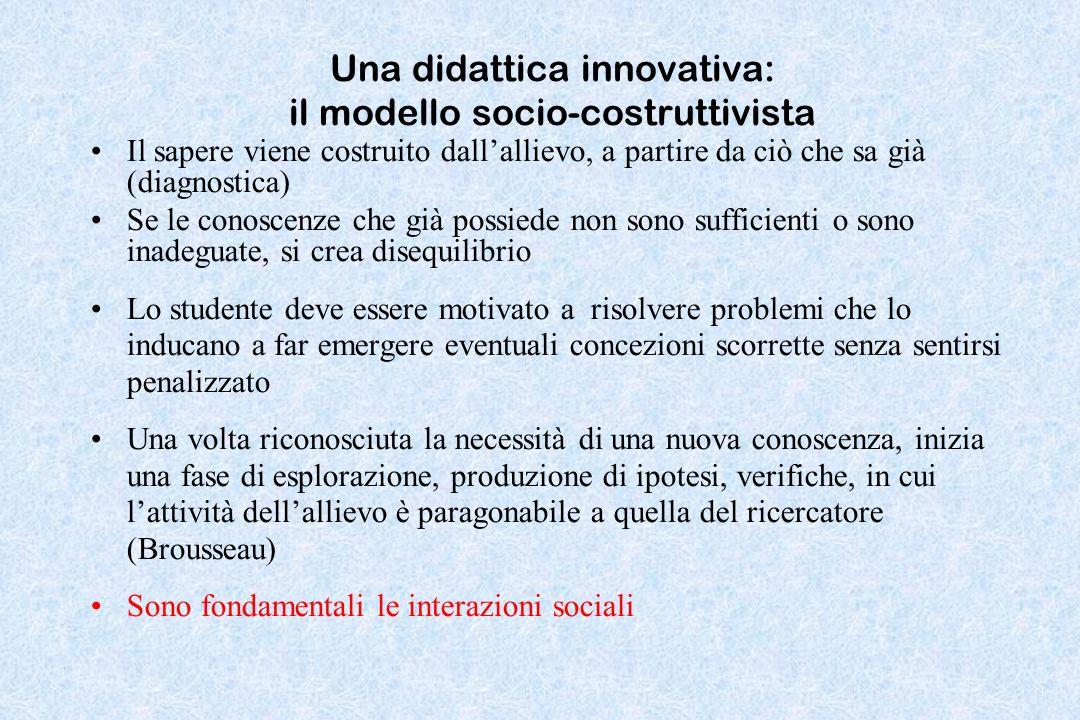 Una didattica innovativa: il modello socio-costruttivista Il sapere viene costruito dallallievo, a partire da ciò che sa già (diagnostica) Se le conos