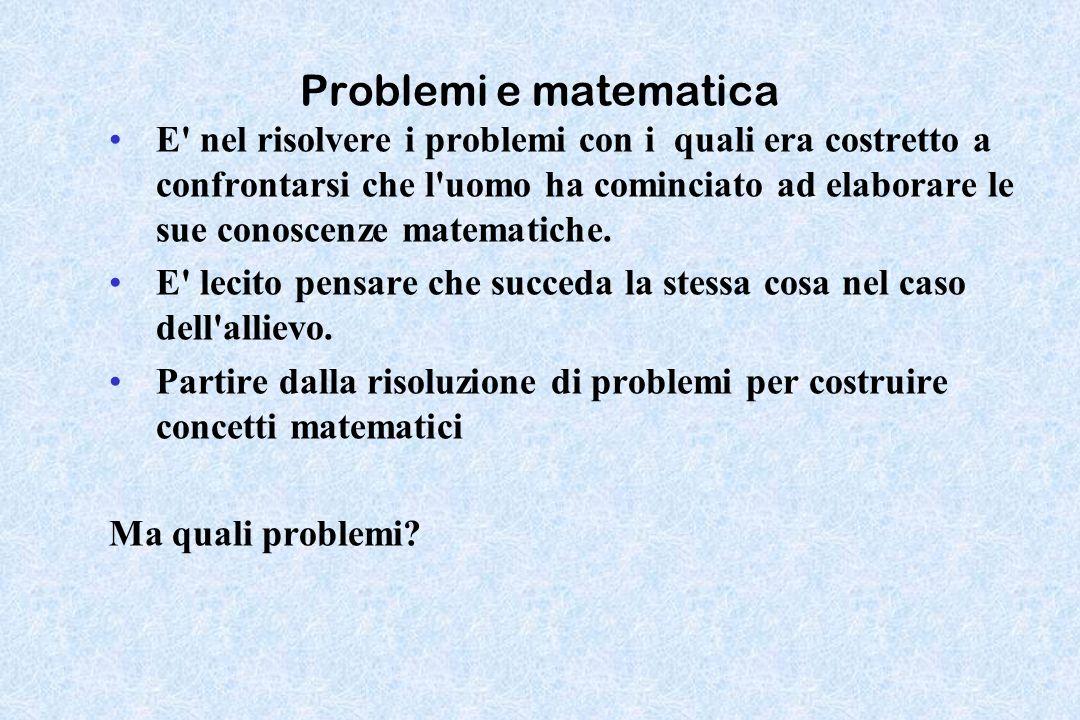 Problemi e matematica E' nel risolvere i problemi con i quali era costretto a confrontarsi che l'uomo ha cominciato ad elaborare le sue conoscenze mat
